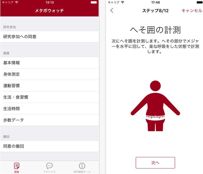 「メタボウォッチ」|早稲田大学、RESEARCHKITでメタボリックシンドロームになりやすい生活習慣をチェックするアプリを開発