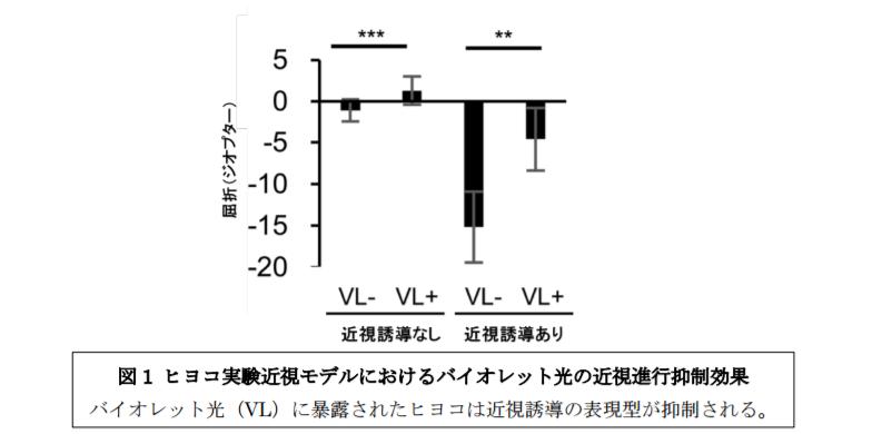 ヒヨコ実験近視モデルにおけるバイオレット光の近視進行抑制効果