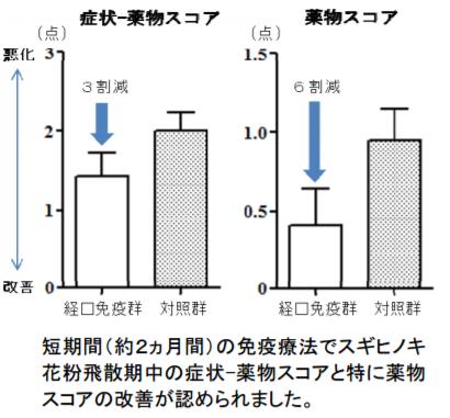 短期間(約2か月間)の免疫療法でスギヒノキ花粉飛散期中の症状-薬物スコアと特に薬物スコアの改善が認められました。