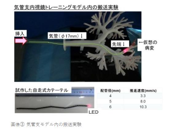 気管支内視鏡トレーニングモデル内の搬送実験|肺がんなど呼吸器疾患の診断・治療の精度を高める気管支内を自走するカテーテルを開発|東邦大学・東京工業大学