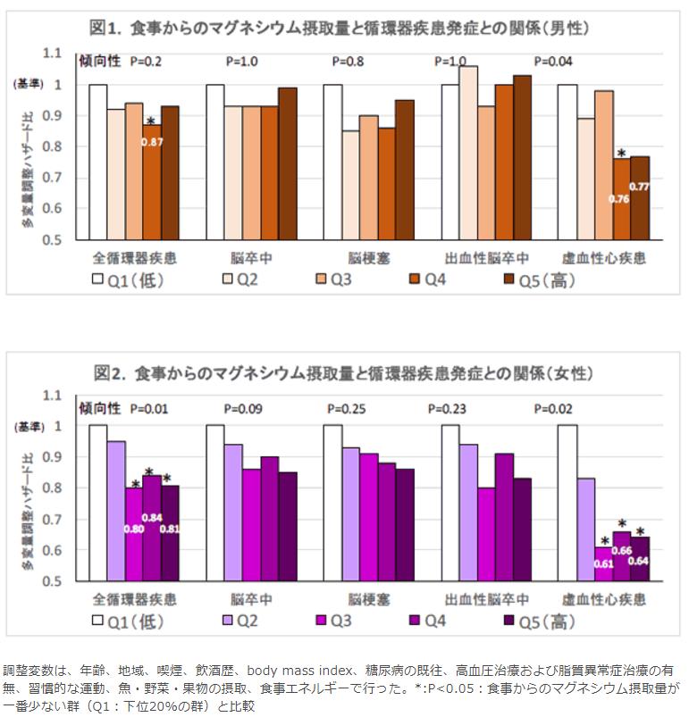 食事からのマグネシウム摂取量と循環器疾患発症との関係(男性・女性)