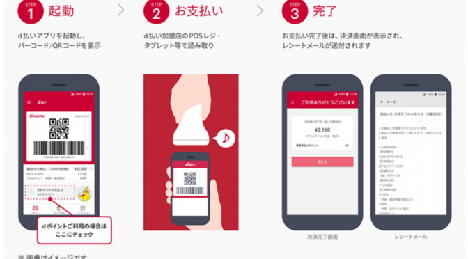スマホ決済サービス「d払い」|バーコードやQRコードを使って、買い物代金を毎月の携帯電話料金と合算した支払いが可能になり「dポイント」も貯まる!|NTTドコモ