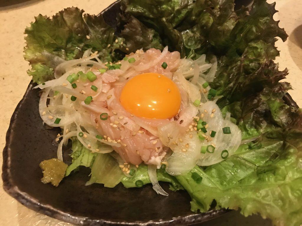 鶏生ハムのユッケ風|七夜月