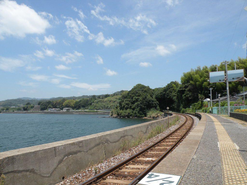 千綿駅の線路と海