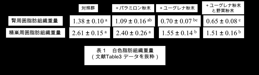 表:白色脂肪組織重量